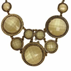 Pearlized Multi Faceted Stone Gold Bib Necklace